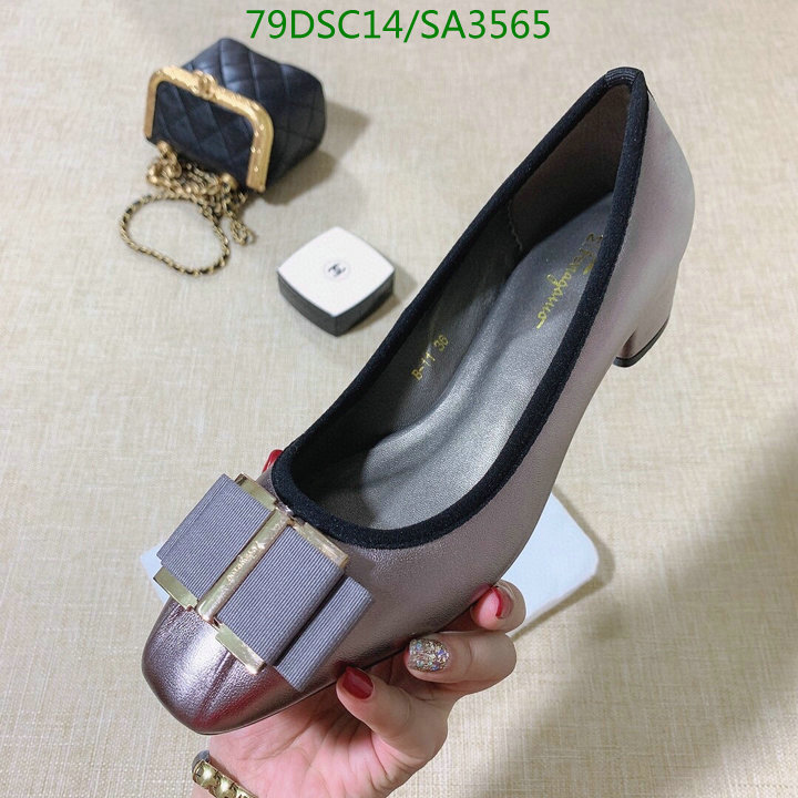 Ferragamo high heels women's thick heels fashion new spring and autumn small flat-toe pumps fashion design single shoes women's shoes