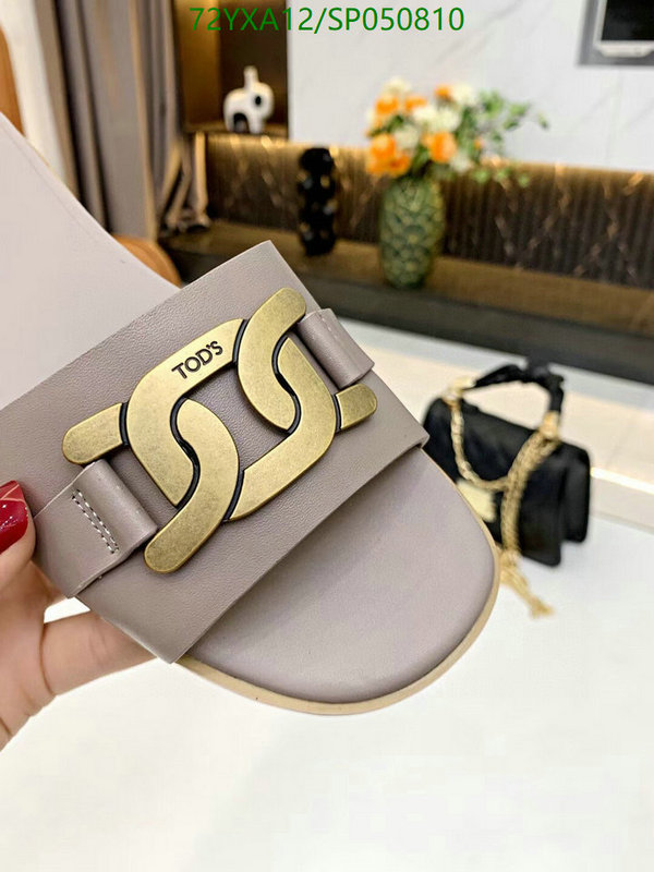 Tod's fashion shoe buckle decoration ladies slippers comfortable flat outer wear slippers beach slippers women shoes