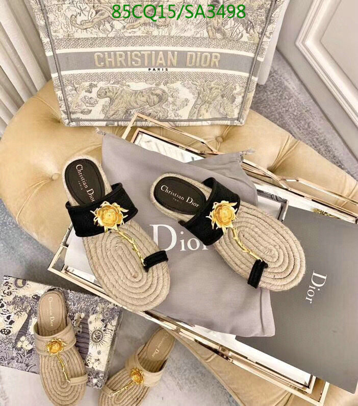 Dior ladies flip flops fashion outer wear slippers seaside vacation beach shoes casual slippers women's shoes