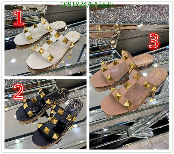 Valentino 2021 Women's Leather Rivet Slippers T-strap Slippers Summer Ladies Casual Slippers Women's Shoes